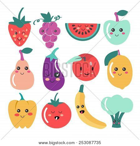 Cute Kawaii Fruit And Vegetable Icons. Vector Set Of Cute Fruit And Veg Illustration.