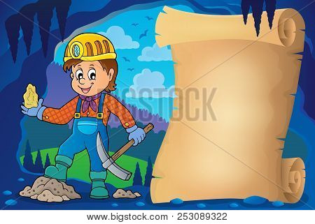 Miner Theme Parchment 1 - Eps10 Vector Picture Illustration.