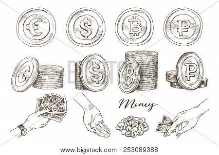 A Set Of Icons Of Coins On The Isolated White Background. Bank Notes Dollar, Bank Notes Euro, Ruble,