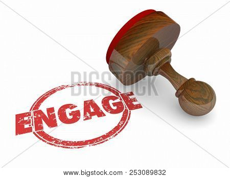 Engage Participate Join Interaction Word Stamp 3d Illustration