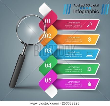 Business Color Infographics. Loupe Icon On The Grey Background.