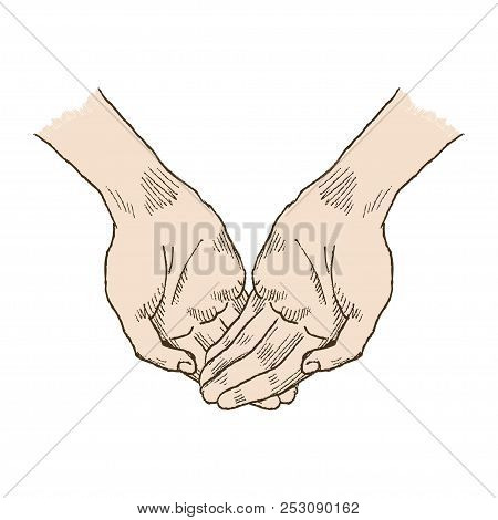 Hands Asking Posture. One Hand On Top Of Other Pop-art Vector. Church, Hands, Blessing, Hand With Fo