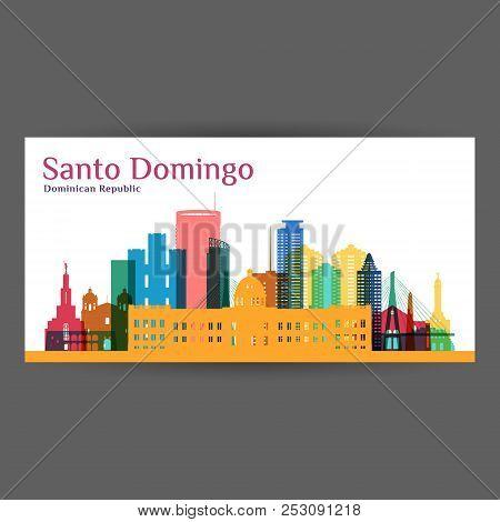 Santo Domingo City Architecture Silhouette. Colorful Skyline. City Flat Design. Vector Business Card