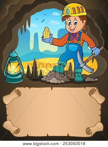 Small Parchment And Miner With Ore - Eps10 Vector Picture Illustration.