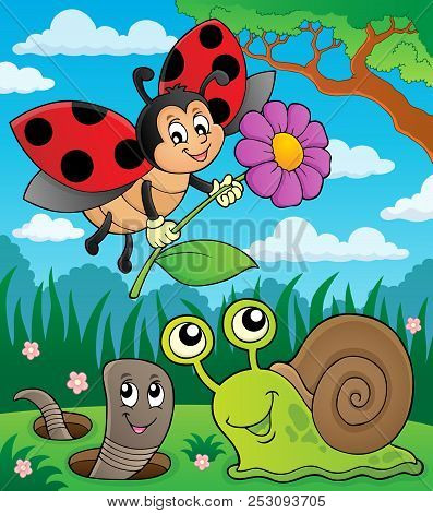 Spring Animals And Insect Theme Image 8 - Eps10 Vector Picture Illustration.