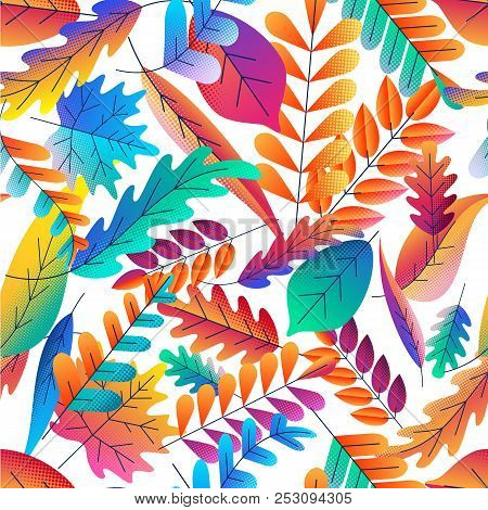 Vector Seamless Pattern With Color Gradients Autumn Leaves. Fantasy Plants Background. Fall Cartoon