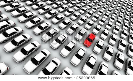 Hundreds Of Cars, One Red!