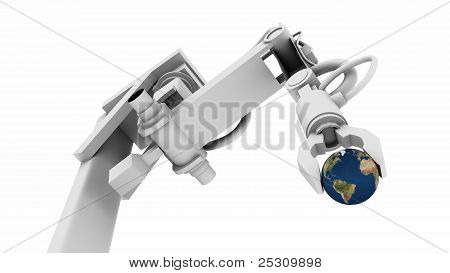 Earth In The Grip Of A Robot Arm