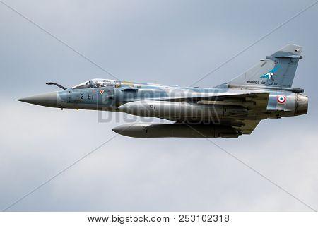 Florennes, Belgium - Jun 15, 2017: French Air Force Dassault Mirage 2000 Fighter Jet Flyby Over Flor