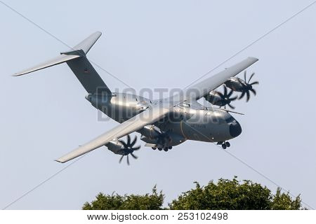Wunstorf, Germany - June 9, 2018: German Air Force Luftwaffe Airbus A400m Military Transport Plane L