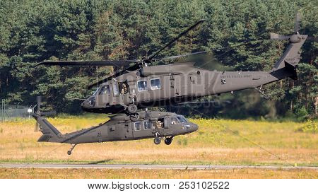 Eindhoven, The Netherlands - Jun 22, 2018: United States Army Sikorsky Uh-60 Blackhawk Transport Hel