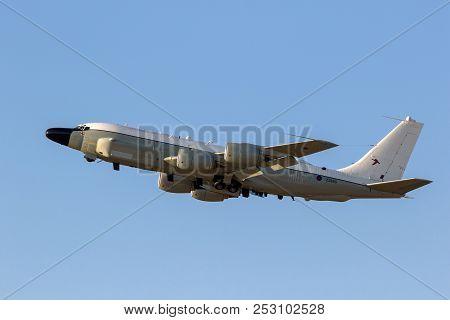 Mildenhall, Uk - Jul 12, 2018: Royal Air Force Boeing Rc-135w Rivet Joint Military Reconnaissance Ai