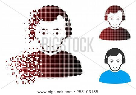 Vector Radioman Icon In Fractured, Pixelated Halftone And Undamaged Whole Versions. Disintegration E