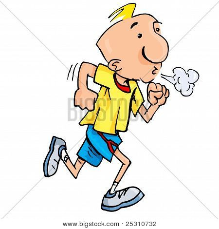 Cartoon Of A Jogging Man Puffing Exertion