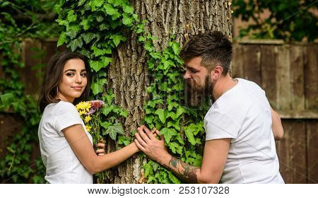 Couple In Love Romantic Date Walk Nature Tree Background. Love Relations Romantic Feelings. Park Bes