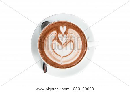 Coffee Or Chocolate Latte Art In White Cup Isolate On White Background With Clipping Path.hot Drink