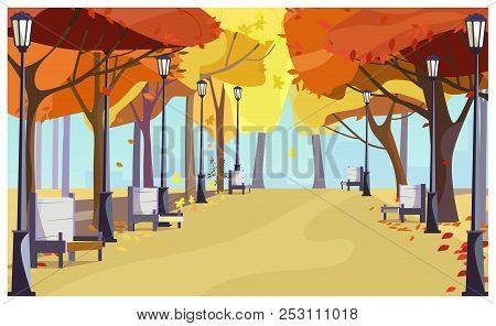 Walkway In City Park With Autumn Trees, Benches And Lanterns. Cityscape, Recreation Area. Flat Style