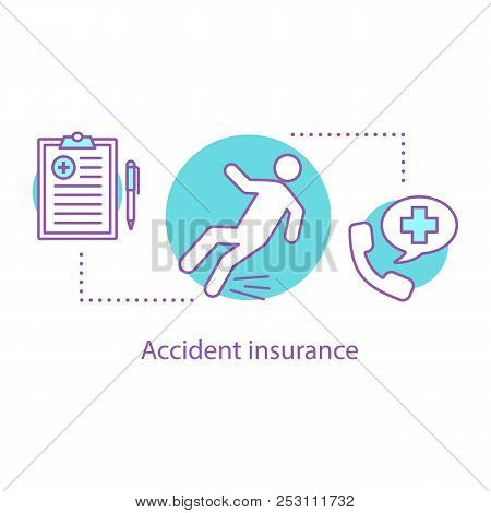 Accident Insurance Concept Icon. Fall Injury Idea Thin Line Illustration. Misfortune. Vector Isolate