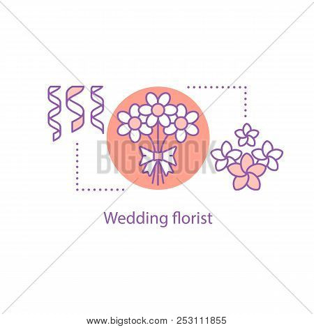 Flower Delivery Concept Icon. Floristry Idea Thin Line Illustration. Flower Decoration. Vector Isola