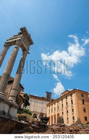 Temple of Apollo Sosianus (Templi di Apollo Sosiano e di Bellona) ruins in Rome, Italy