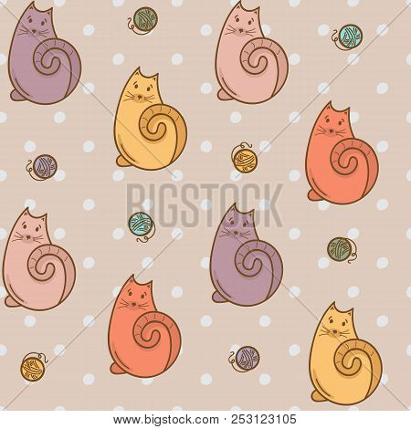 Cartoon Seamless Pattern With Cats And Wool Thread Bolls. Pastel Colors, Polka Dot Background. Cute