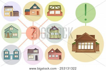 Choosing Right House, Compare Different Houses And Property To Buy Or Rent, Vector Concept, Making A