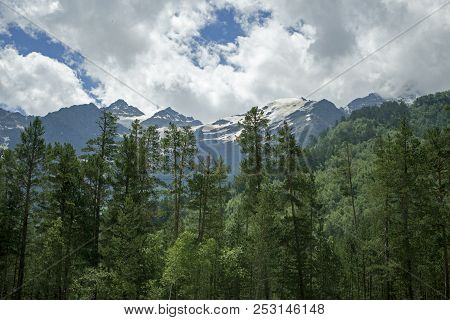 Pastoral View On Mountains In Valley Near Elbrus