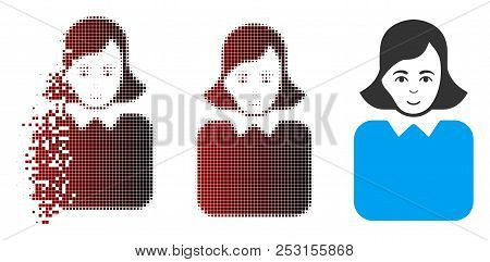 Vector Bureaucrat Woman Icon In Fractured, Pixelated Halftone And Undamaged Solid Variants. Disappea