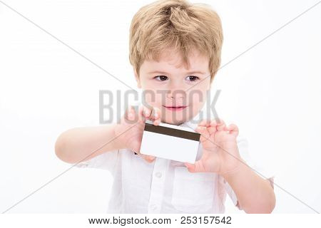 Boy Showing Credit Card. Blank Credit Card. Cash Card. Business-card. Plastic Bank-card With Magstri