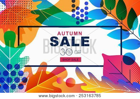 Vector Sale Banners With Color Gradients Autumn Leaves. Fall Illustration Background. Design Templat
