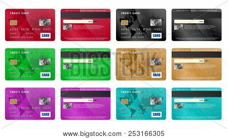 Realistic Credit Cards Icons Set. Universal Credit Cards Icons To Use For Web And Mobile Ui, Set Of