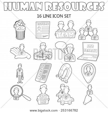 Outline Human Resources Icons Set. Universal Human Resources Icons To Use For Web And Mobile Ui, Set
