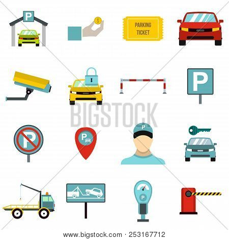 Flat Parking Icons Set. Universal Parking Icons To Use For Web And Mobile Ui, Set Of Basic Parking E