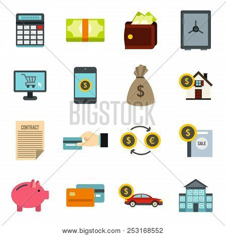 Flat Credit Icons Set. Universal Credit Icons To Use For Web And Mobile Ui, Set Of Basic Credit Elem