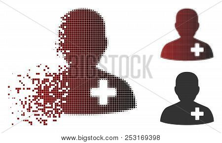 Vector Medical Volunteer Icon In Dissolved, Dotted Halftone And Undamaged Solid Variants. Disappeari