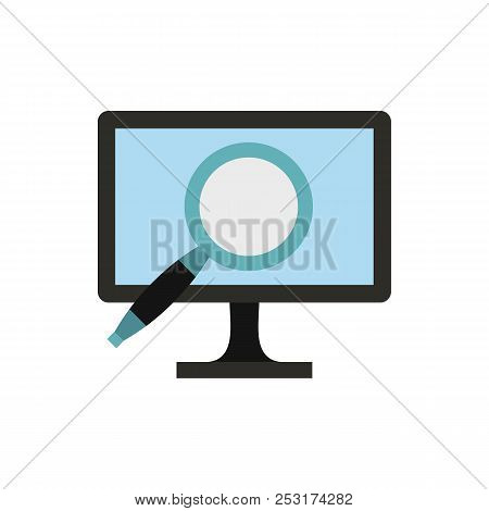 Finding Information On Computer Icon In Flat Style Isolated On White Background. Searching Symbol