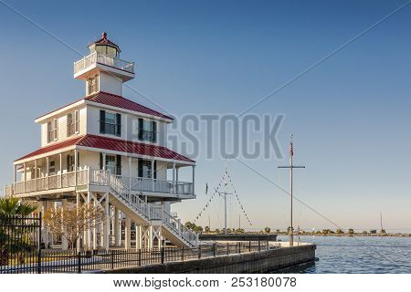 New Orleans, Usa - Nov 26, 2017: View Of The Iconic New Canal Lighthouse And Lake Pontchartrain.