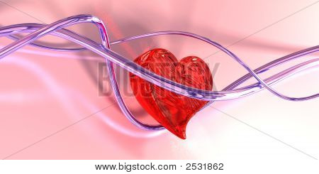 Glass Heart In Wires