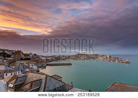 Dawn At The Beautiful Seaside Town Of St. Ives In Cornwall, England