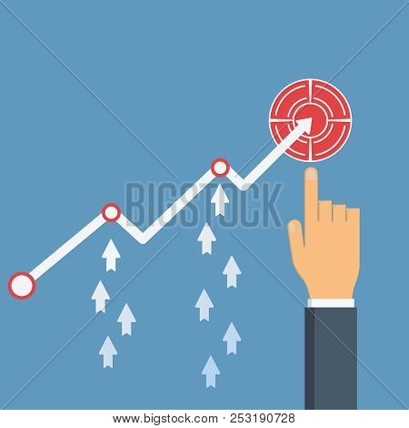 Increase Sales. Hand Points To Profit Growth Financial Chart. Diagram Up, Arrows Up. Vector Illustra
