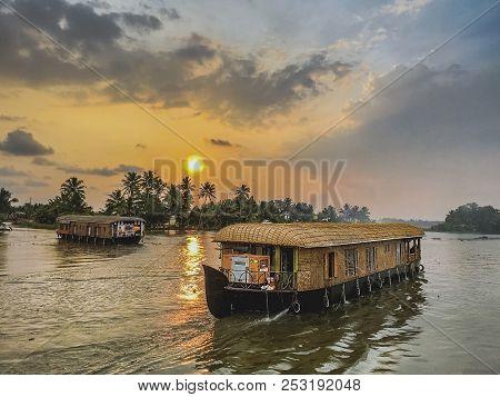 Shikara House Boat Roaming In A Lake At Alleppey, India.