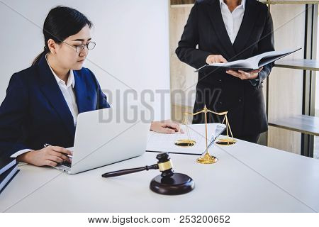Teamwork Of Business Lawyer Colleagues, Consultation And Conference Of Professional Female Lawyers W