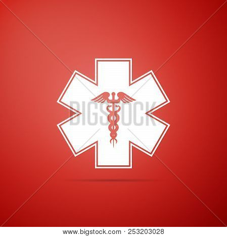Emergency Star - Medical Symbol Caduceus Snake With Stick Icon Isolated On Red Background. Star Of L