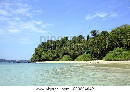 Tropical Beach Of Coibita, Aka Rancheria, With Isla Coiba In The Background. Coiba National Park, Pa