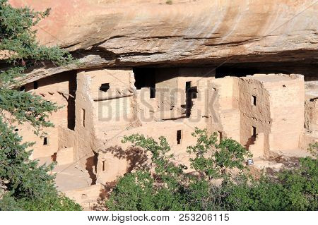 Ancient Anasazi Cliff Dwellings In Mesa Verde, Colorado, United States