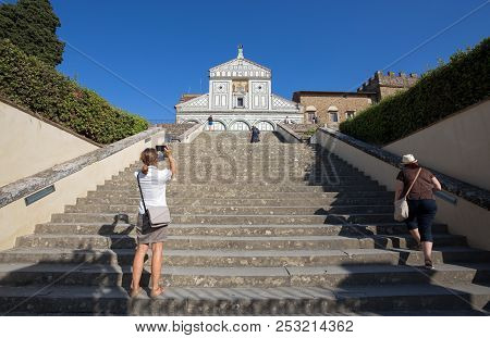 Florence (firenze), July 28, 2017 - San Miniato Al Monte Church In Florence (firenze), Tuscany, Ital