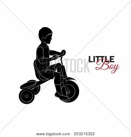 Little Child, Baby. Little Boy Riding A Bicycle