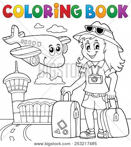 Coloring Book Tourist Woman Theme 2 - Eps10 Vector Picture Illustration.