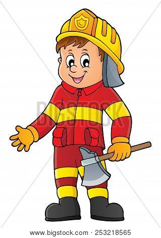 Firefighter Man Image 1 - Eps10 Vector Picture Illustration.