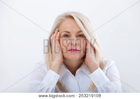 Woman Headache isolated. Menopause. Middle aged woman poster